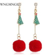 WNGMNGL 2018 Fashion Female Drop Earrings Classic Long Statement Christmas Tree Round Plush Dangle Earrings For Women Jewelry christmas tree drop earrings