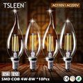 TSLEEN 10x E14/ E12 Base 110V/ 220V Candle & Flame LED Bulb Lampada Bombillas Edison Retro C35 4W 8W Chandelier Cool/Warm Lights