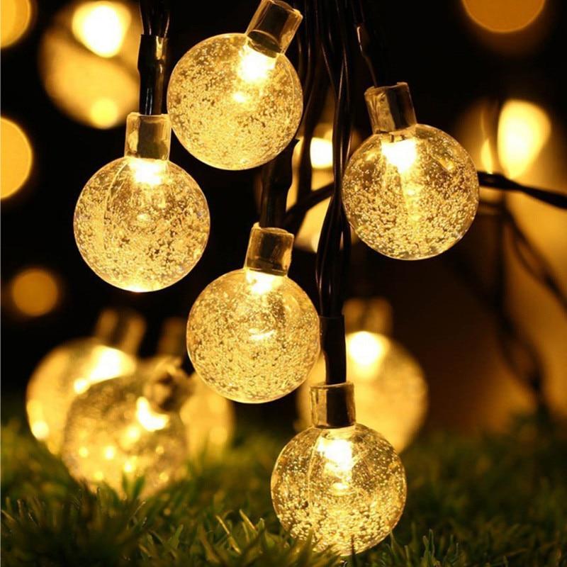 10M 50Led Solar Powered Bulbs Led String Lights for Outdoor Lighting Courtyard Street Garden Led Fairy Lights Christmas Garland in Solar Lamps from Lights Lighting