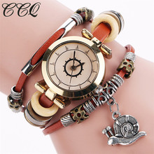 CCQ Vogue Excessive High quality Classic Cow leather-based Bracelet Watch Informal Girls Crystal Snail Pendant QuartzWatch Relogio Feminino 2063