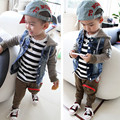 2014 denim knitted patchwork denim casual hooded outerwear cowboy suit wear free shipping boy kids jackets clothes coats outwear