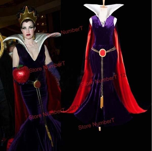 Neige blanche princesse belle-mère reine impératrice robe ceinture, cape, couronne ensemble complet Costume Cosplay pour sur mesure