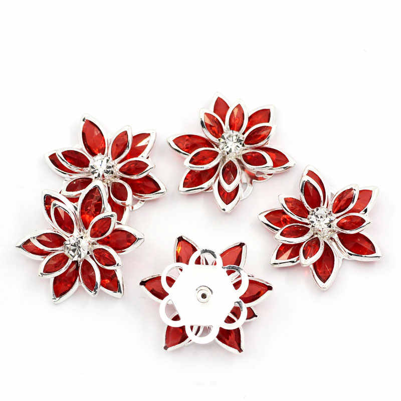 """DoreenBeads Copper Rhinestone Embellishments Findings Flower Silver color With Rhinestone 23mm(7/8"""")x 24mm(1""""),1 Piece"""