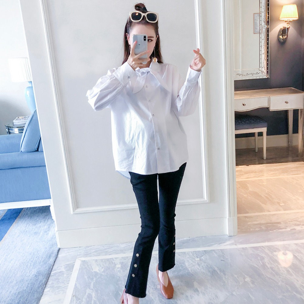 купить Pregnant women shirt 2018 autumn new fashion long-sleeved loose maternity dress pregnancy versatile white shirt по цене 2847.06 рублей