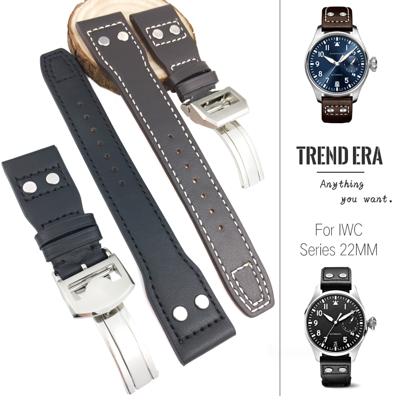 21mm 22mm New Fashion Genuine Leather Watch Strap Black Brown Plain with Nail Watchband Special for IWC PILOT PORTUGIESER Watch 21mm 22mm New Fashion Genuine Leather Watch Strap Black Brown Plain with Nail Watchband Special for IWC PILOT PORTUGIESER Watch