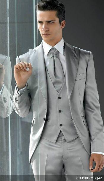 Последний дизайн пальто брюки Серебряный серый атласный мужской костюм Slim Fit 3 шт Блейзер итальянский индивидуальный смокинг для Жених выпу