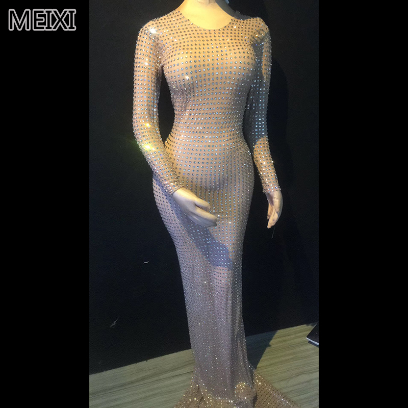 Super Shiny Silver Full Body Diamond Rhinestone Two Style Evening Dress Luxury Bar Birthday Party Concert Singer Dancer Costumes