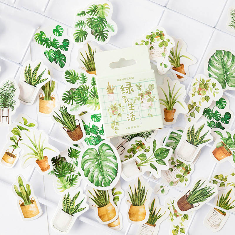 45Pcs Cute Stationery Stickers Bullet Journal Paper Sticker Kawaii Green Plants Stickers For Kids DIY Scrapbooking Diary Albums