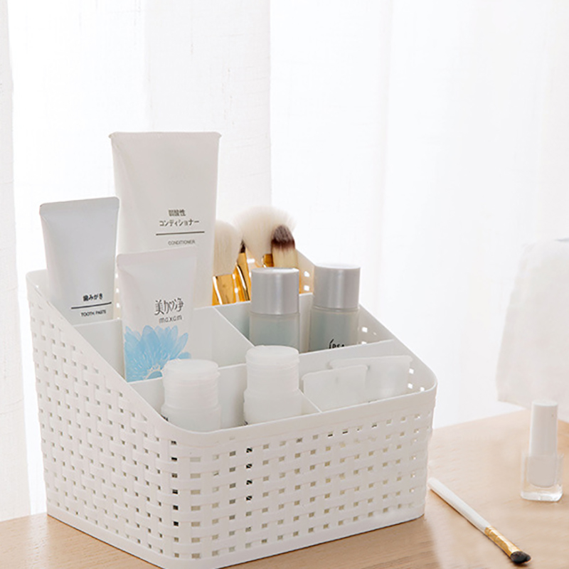 Creative Desktop Storage Box Multi-Grid Plastic Box Cosmetic Case Remote Control Holder Small Objects Container Makeup Organizer