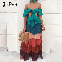 JillPeri Women Summer Dress Vacation Colorful Off the Shoulder Crop Top and Bottom Two Piece Set Long Dress Chiffon Sexy Outfit
