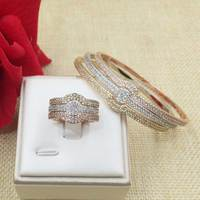 GODKI New Arrival Fashion Luxury 3 Color 3 in 1 Super Shiny AAA Cubic Zirconia Women Baguette Bracelet Bangle And Ring Set