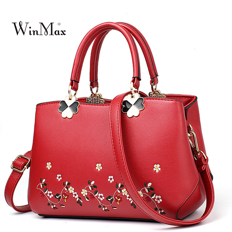 Women Embroidery Leather Handbags Vintage Ladies PU Shoulder Bag Feminina Bolsa Large Capacity Party Bags Crossbody Bag 2017 New kadell new luxury brand bag women leather handbags matte pu leather ladies tote bolsa vintage messenger crossbody shoulder bags
