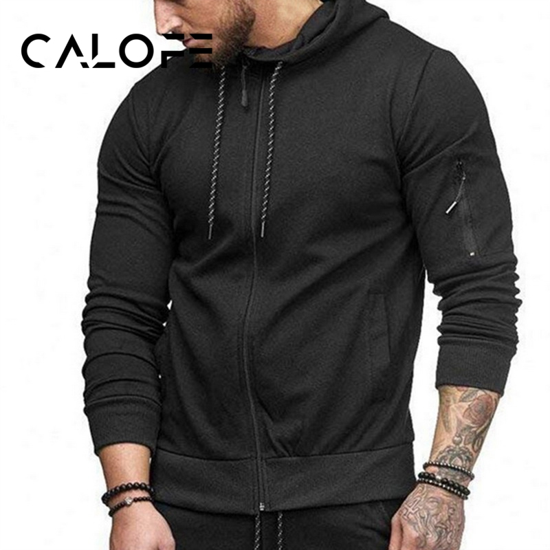 CALOFE Mens Training Sweaters Hooded Slim Fit 2018 Jackets Solid Sports Cardigan Zipper Up Sweatshirt Streetwear 2018 MaleCALOFE Mens Training Sweaters Hooded Slim Fit 2018 Jackets Solid Sports Cardigan Zipper Up Sweatshirt Streetwear 2018 Male