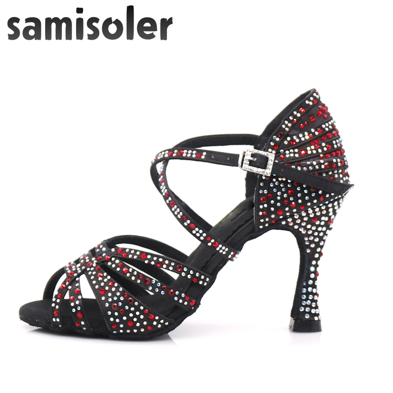 Samisoler Women Party Dance Shoes Satin Shining rhinestones Soft Bottom Latin Dance Shoes Woman Salsa Dance Shoes heel5CM 10CM in Dance shoes from Sports Entertainment
