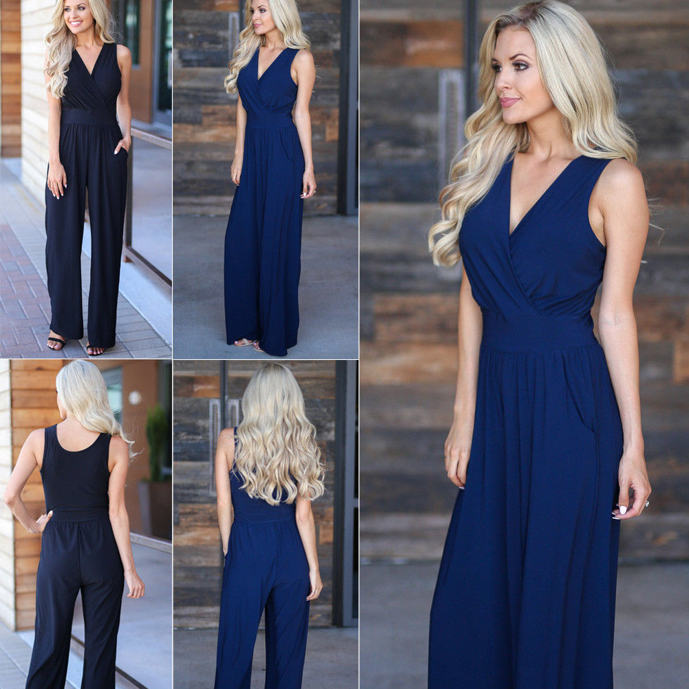 2018 New Fashion Women   Jumpsuits   Clothes Sexy Lady Sleeveless V-neck High Waist Clubwear Casual Party Loose   Jumpsuit   Rompers