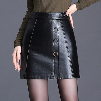 High Waist Slim Sexy Women Leather Skirt Push Up Metal Black Mini Skirt Autumn Winter Fashion Female Pu Leather Skirts Plus Size