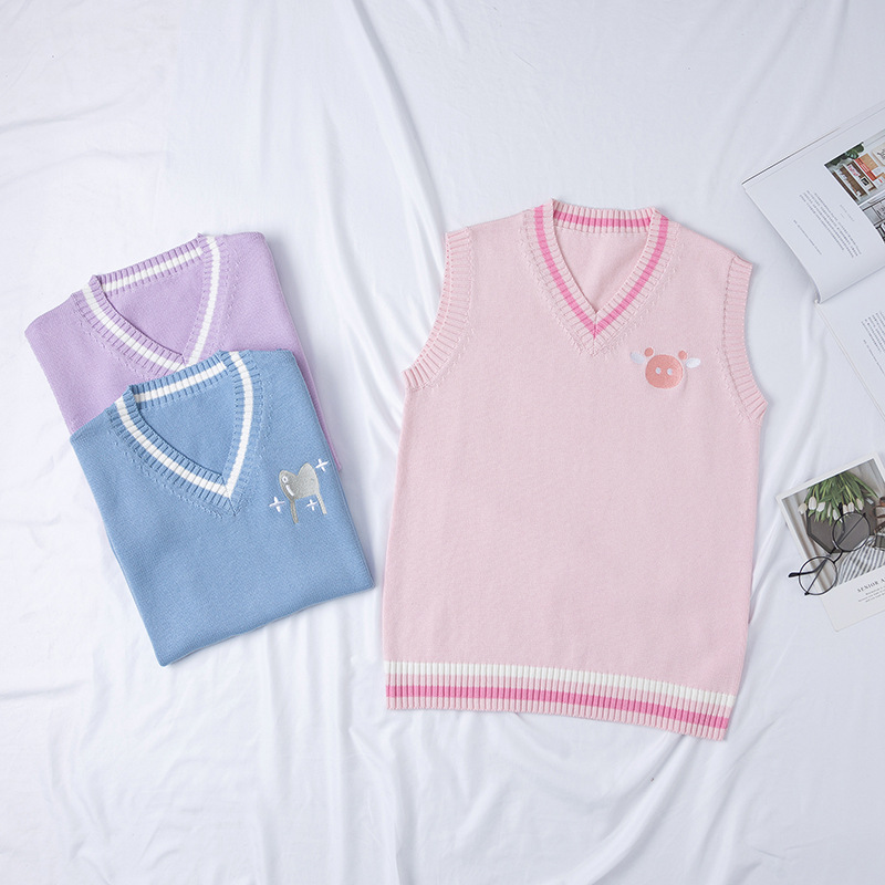 2019 Japanese Women's Cute Knitted Vest Cotton School Girls Uniform Jk Sweet Sleeveless Sweater Blue Purple Pink Rabbitand Pig