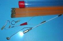 10x60 cm Kablo Erişim Kitleri 10 ADET çubuklar kanca, yüzükler, led ışık, mıknatıs, zincir kablo çekici itme çekme çubuğu yılan çubuk tel çektirme