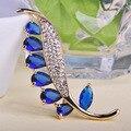 La moda de lujo Womans Ouro oro clavijas de la India Masculino accesorios de gran colorido hojas Broche Hijab Broche broches marca