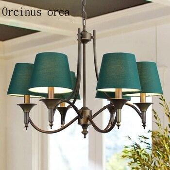 Кованая люстра в средиземноморском стиле для гостиной, столовой, лампа для спальни, зеленый креативный Европейский стиль, деревенский мини...