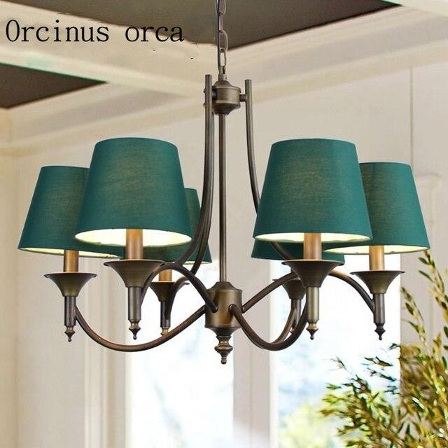 US $142.0 |Lampadario in Ferro battuto In stile Mediterraneo soggiorno sala  da pranzo camera da letto della lampada verde creativo stile Europeo ...