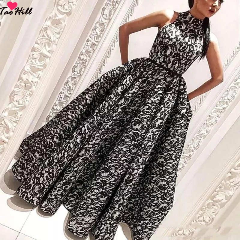 TaoHill Ball Gown Formal Evening Gowns Dresses A line High Collar Black Dubai Evening Party Lace Dress with Pocket