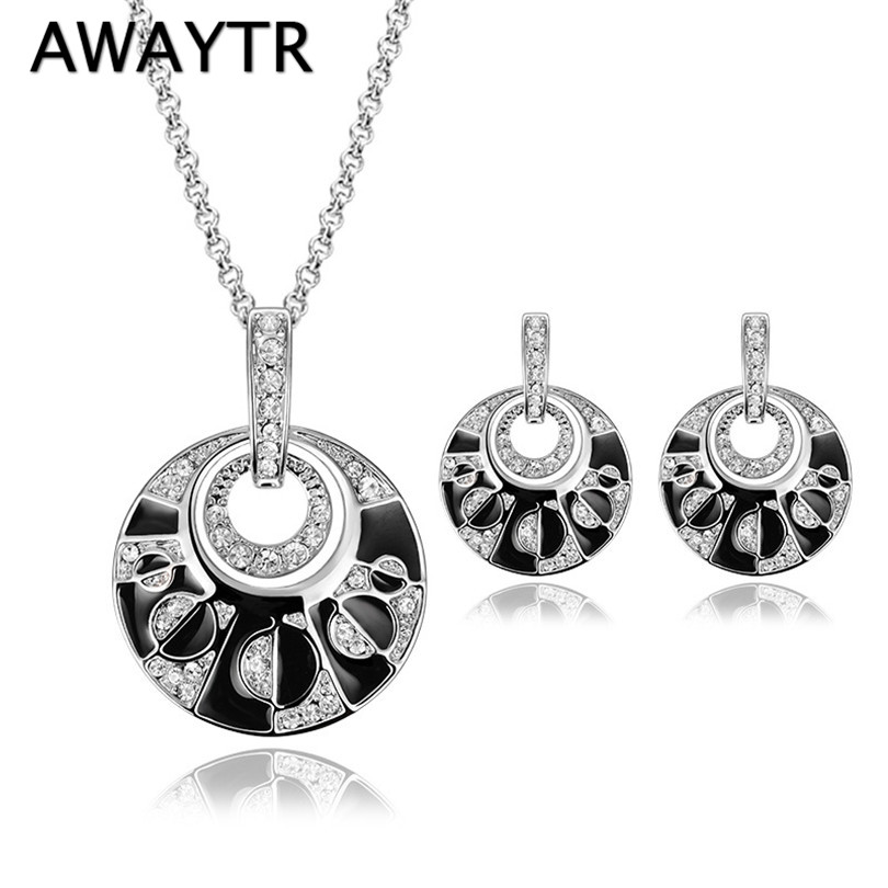 AWAYTR Elegant Crystal Round Vintage Necklace Earrings Jewelry Sets For Women Wedding Party Birthday Costume Jewelry