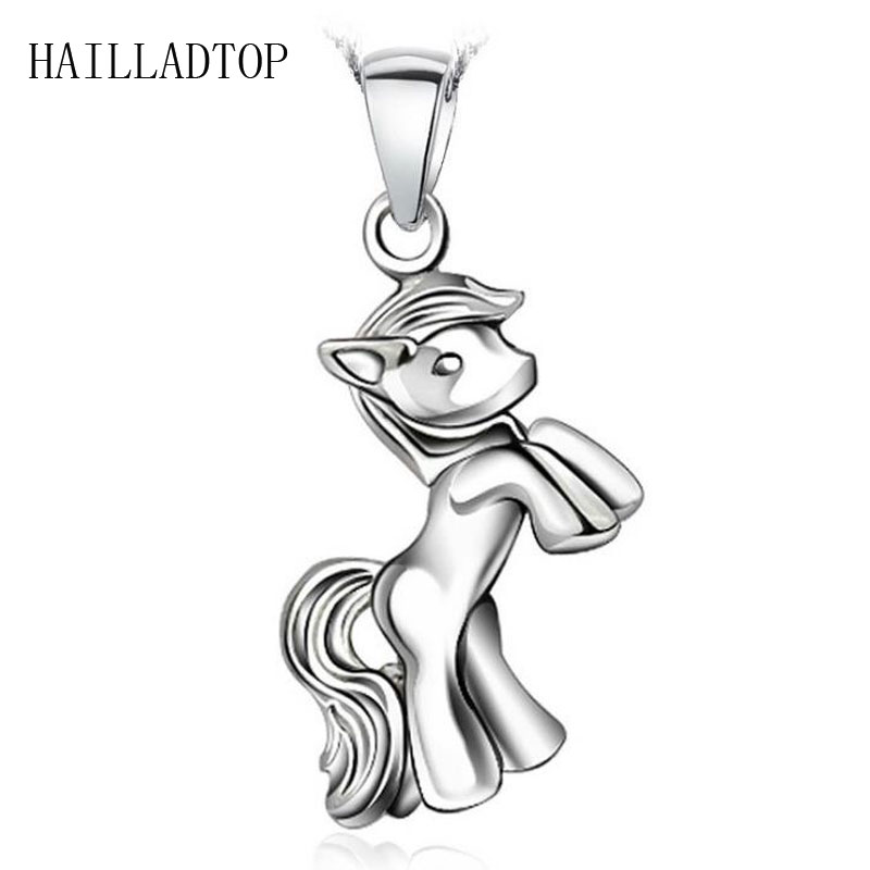 Little Horse Pendent Necklace Unisex Silver Zodiac Pendent with Free Chain Rhodium Horse Jewelry Student Kids Lucky Jewelry