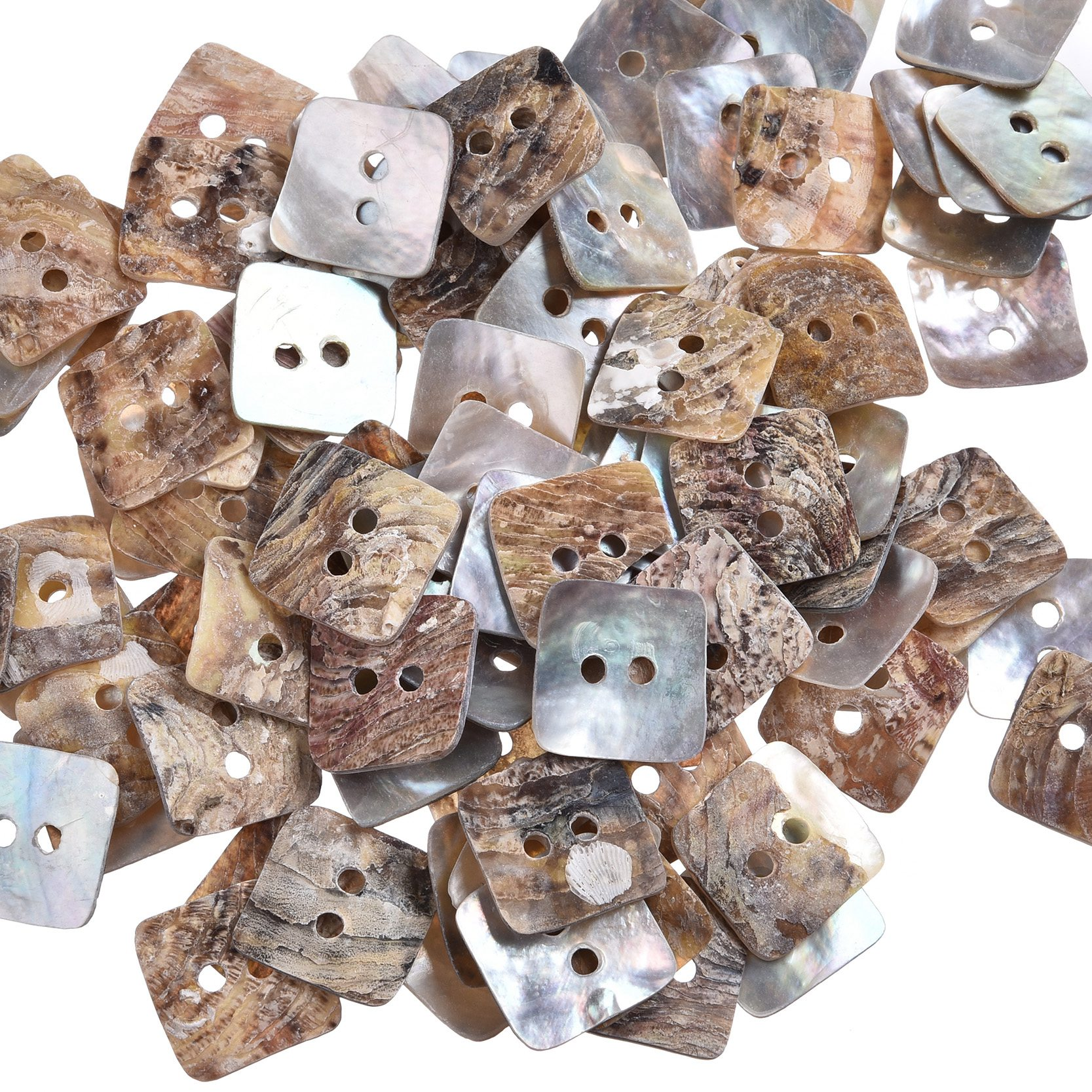 100 Pcs 12mm 2 Holes Mother of Pearl Square Sewing Buttons Scrapbooking Knopf Bouton DIY ...