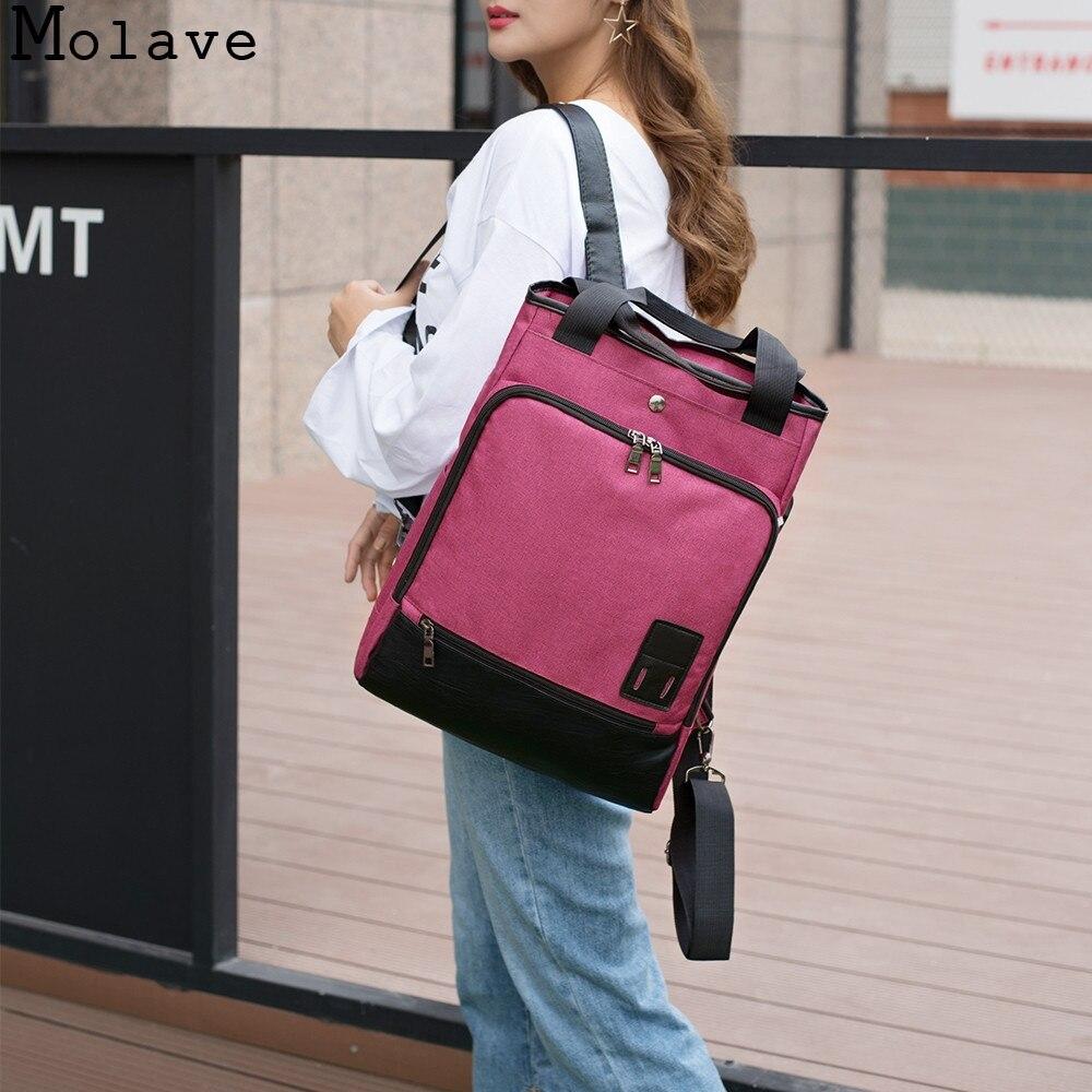 MOLAVE Backpack USB Canavs Travel Fashion Large Capacity school Bag Silt Pocket Air Cushion Belt Jacquard Backpack dec12