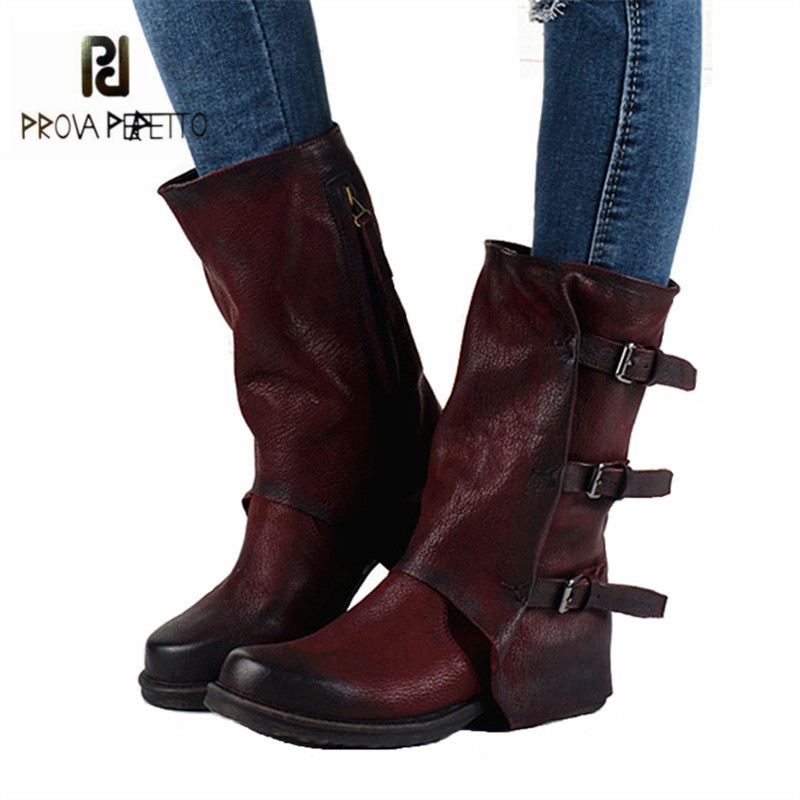 Prova Perfetto Fashion Genuine Leather Women Autumn Winter Boots Buckles Straps Flat Platform Mid-calf Botas Female Snow Boots prova perfetto winter women warm snow boots buckle straps genuine leather round toe low heel fur boots mid calf botas mujer