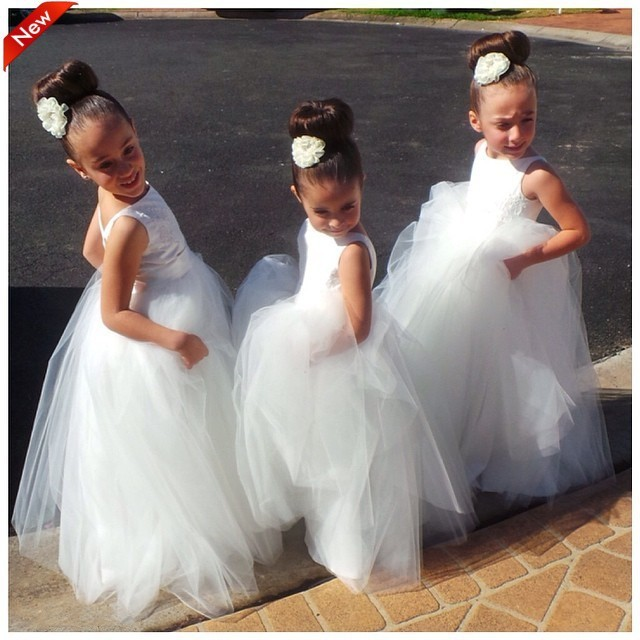 Free shipping   flower     girl     dresses  ! Scoop backless gown beautiful handmade classic white organza ball gown   flower     girl     dresses