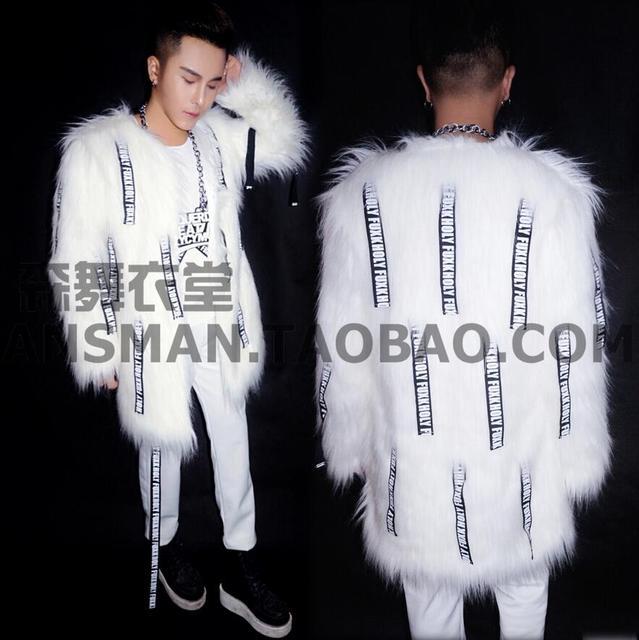 HOT 2016 new Men singer DJ exclusive right Zhi-Long GD imitation mink fur coat costumes nightclub clothing Three-piece suits