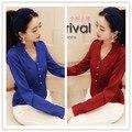 Good Quality/New 2014 Spring Women blouse  V-neck Shirt Female Long-Sleeve Chiffon Shirt
