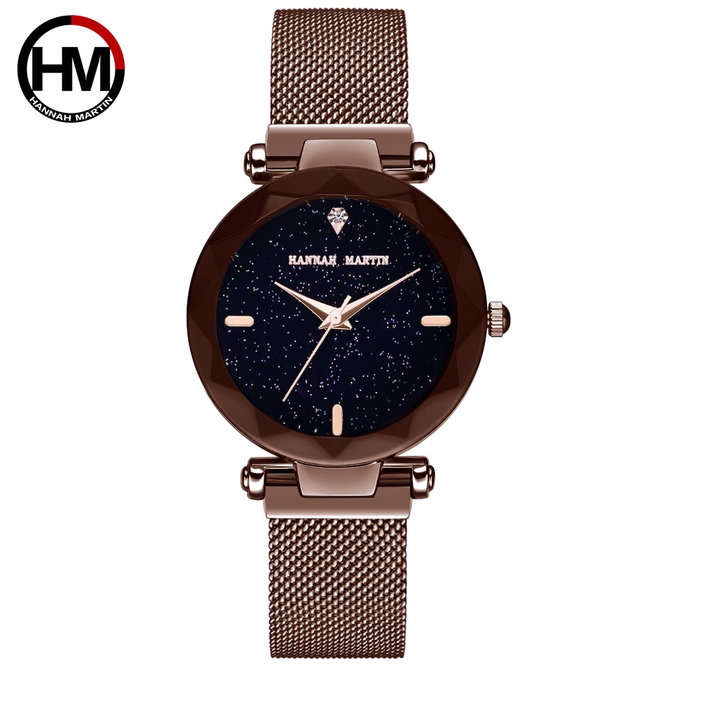 Hannah Martin Women Watches Fashion Colorful Milanese Stainless Steel Strap Ladies Watch Luxury Exquisite Wrist Watch Clock