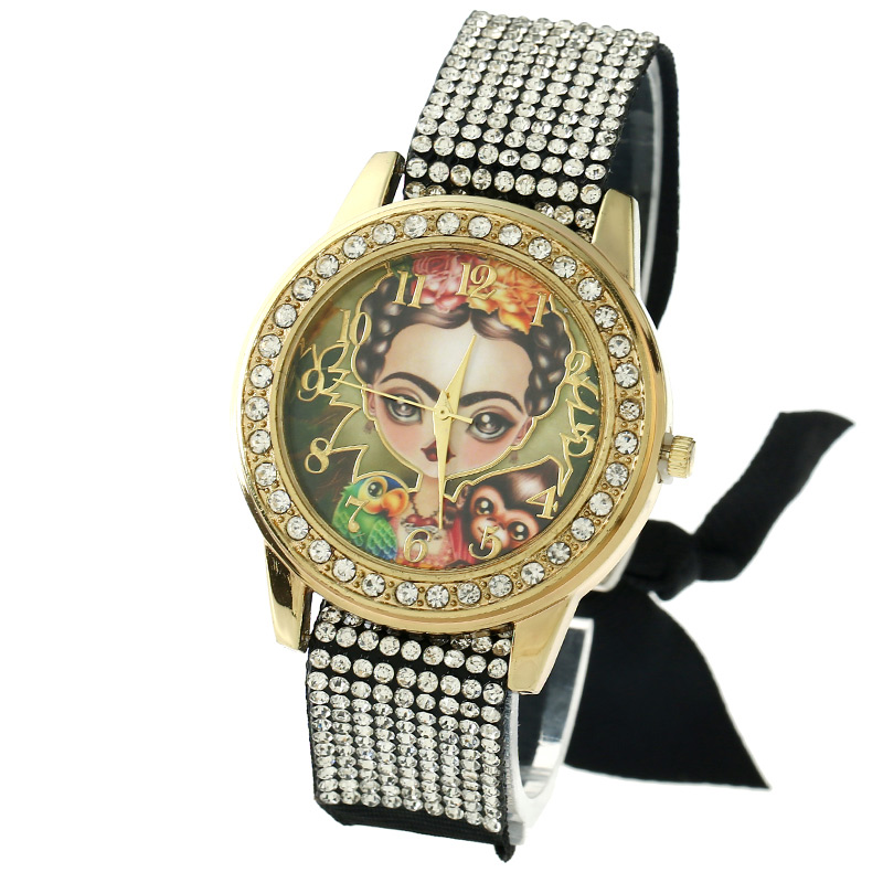 Gnova Platinum Lace Women Watch Vintage Frida Monkey Bird Rhinestone Dial Fashion wristwatch Reloj femenino para femme A845 digital stc 1000 220v all purpose temperature controller thermostat with sensor