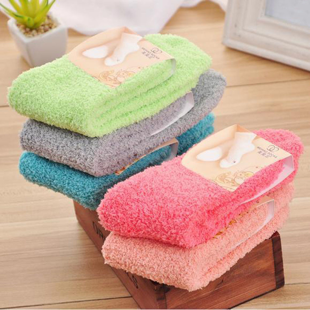 New Fabulous Elastic Home Women Girls Soft Bed Floor   Socks   Fluffy Warm Winter Breathable Pure Various Colors Available   Sock   3.7