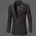 New 2016 Slim Fit Casual Men Suit Jacket Cotton Single Button Polka Dots Mens Suit Jacket Autumn Business Men Dress Groom Coats