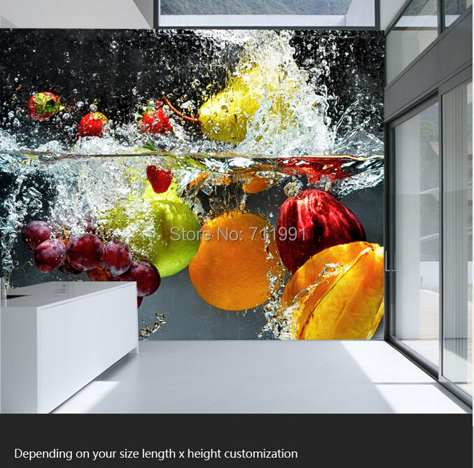 Custom kitchen wallpaper fruit and vegetables for the restaurant kitchen wallpaper mural backdrop 3D waterproof vinyl wallpaper retro table bread glass vegetables fruits hand painted restaurant mural kitchen living room custom wallpaper