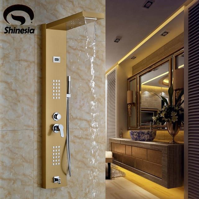 Golden Solid Brass Bathroom Shower Faucet Waterfall and Rainfall ...