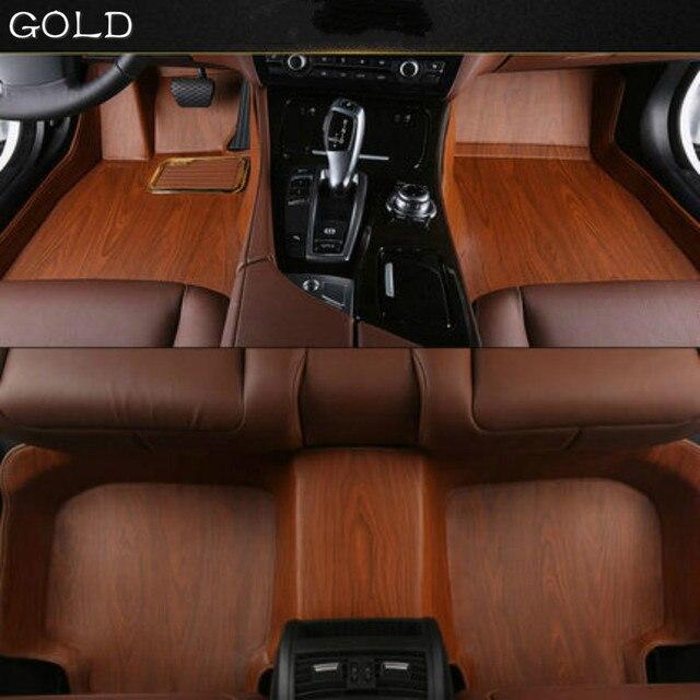 Full Covered Wood Grain Waterproof Carpets Custom Car Floor Mats For