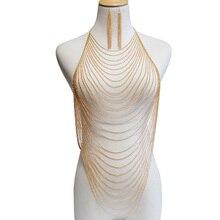 Unuhle Luxury Body Chain Women Shiny Sexy Belly Gold Silver Tassel Bra Harness Earrings Waist Jewelry Gift