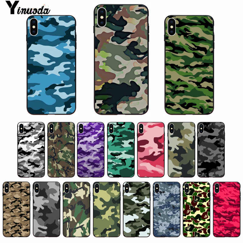 Yinuoda Camouflage Pattern Camo military Army Black Soft Shell Phone Cover for Apple iPhone 8 7 6 6S Plus X XS MAX 5 5S SE XR