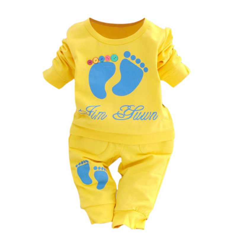 Casual Baby Boys Girls Clothes Set Printed Long Sleeve T-shirt+Pants Outfit Children Costume