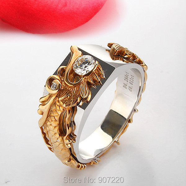 Chinese Dragon Silver Men Ring SONA Simulated Diamond Ring 18K