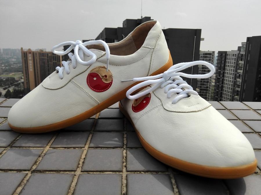 Haute qualité Tai Chi chaussures Wushu chaussures unisexe Kung Fu Taiji chaussures doux en cuir véritable fond blanc noir rouge couleurs taichi chaussures