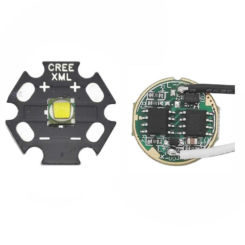 CREE Single-die XM-L T6 <font><b>10W</b></font> White <font><b>LED</b></font> Light Emitter Bulb <font><b>20mm</b></font> PCB + DC3.7V <font><b>Driver</b></font> image