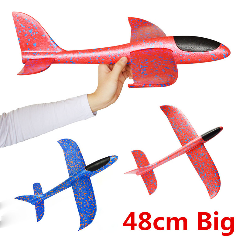 48cm Big Good quality Hand Launch Throwing Glider Aircraft Inertial Foam EPP Airplane Toy Children Plane Model Outdoor Fun Toys 48cm foam plane glider aircraft airplane model led night hand throw flying glider epp toy for children