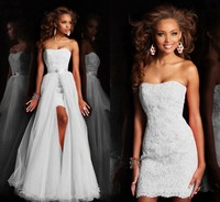 New Design High Low Short Strapless Pure White Wedding Dress Bridal Gown With Detachable Removeable Skirt