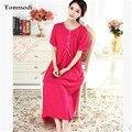 2016 Novos Sistemas de Fluidos Sólidos Cotton Linen Longo Nightgowns Princesa Solta Camisola